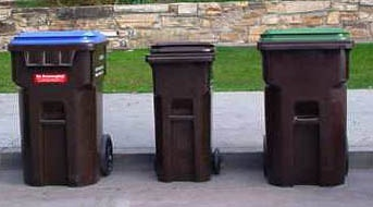 Recycle, Refuse and Greenwaste Carts placed at the curb