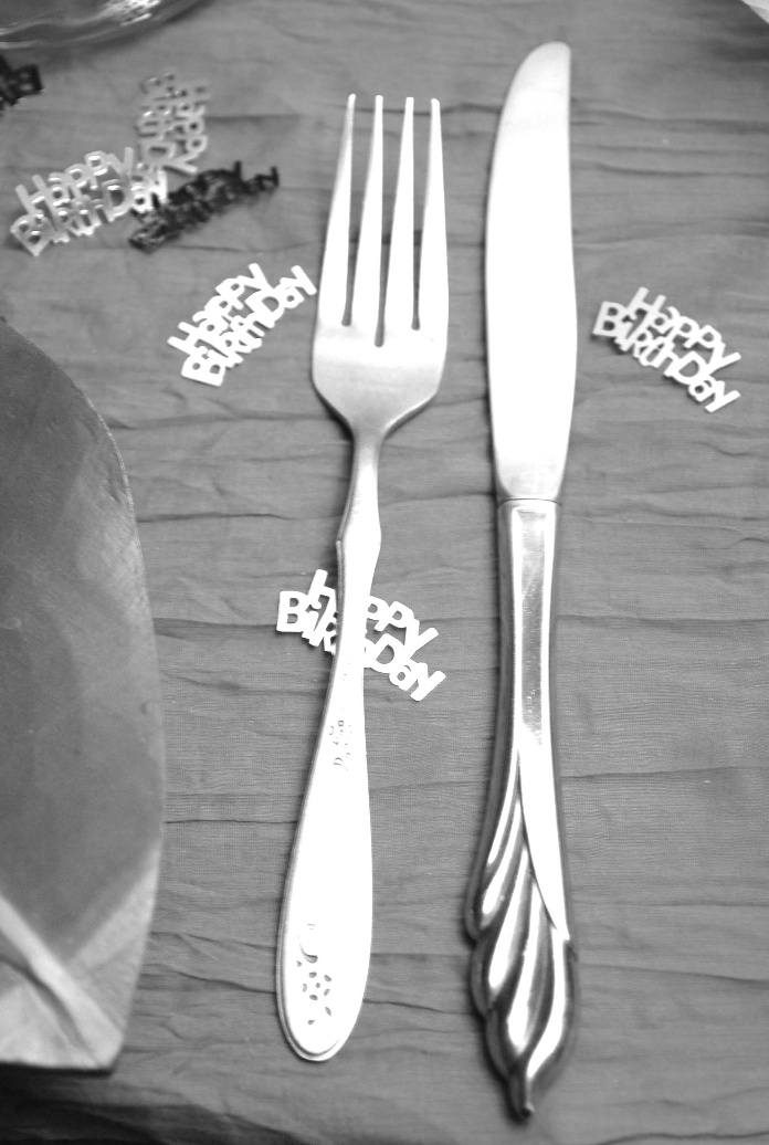 A fork with birthday decorations