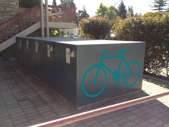 Bike locker with logo