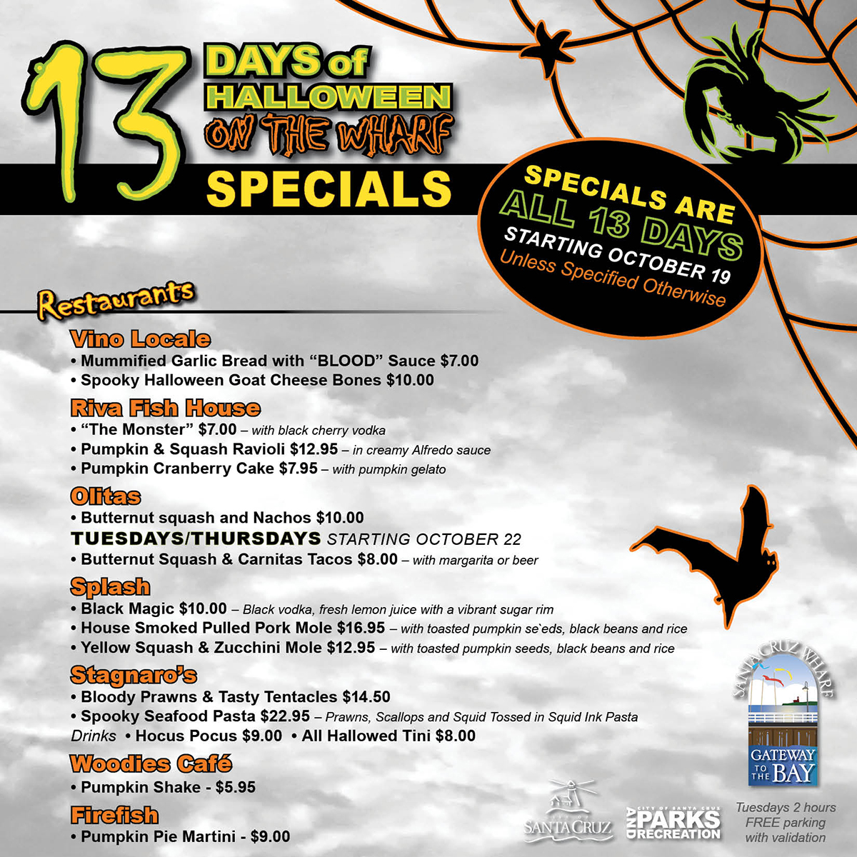 13 Days of Halloween on the Wharf Specials