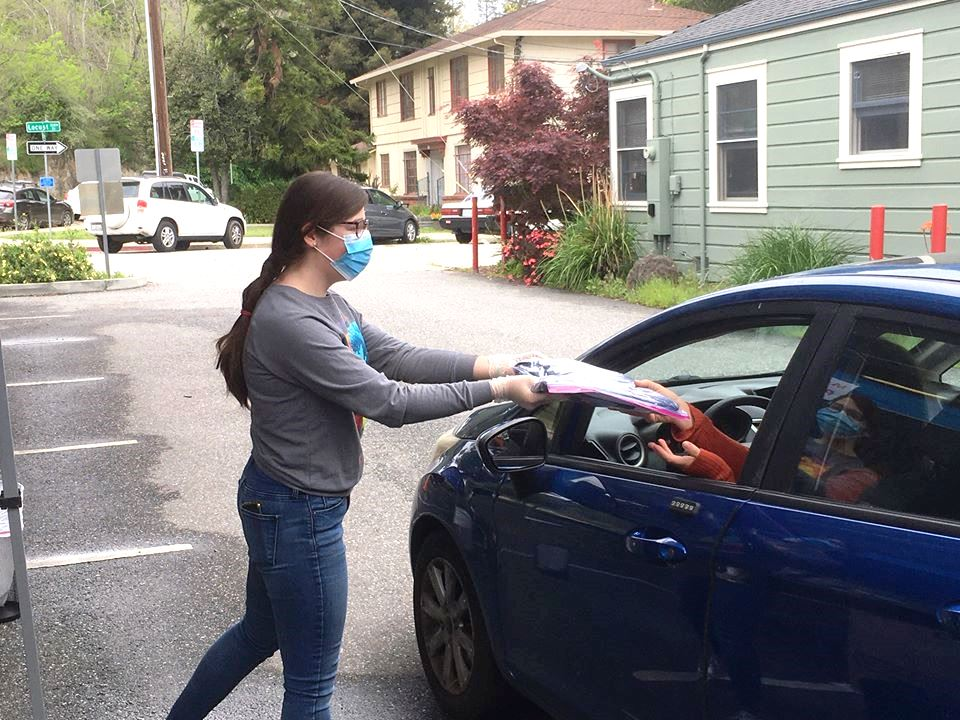 City's Margaret Haddon drive-thru mask pick up