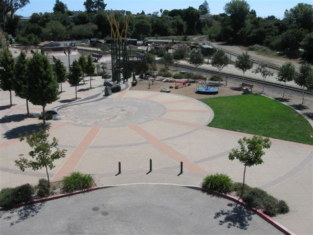 An ariel view of Depot Plaza