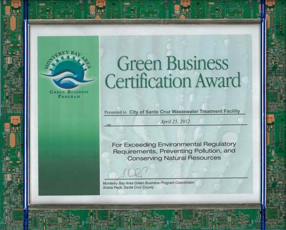Monterey Bay Green Business Certificate Award